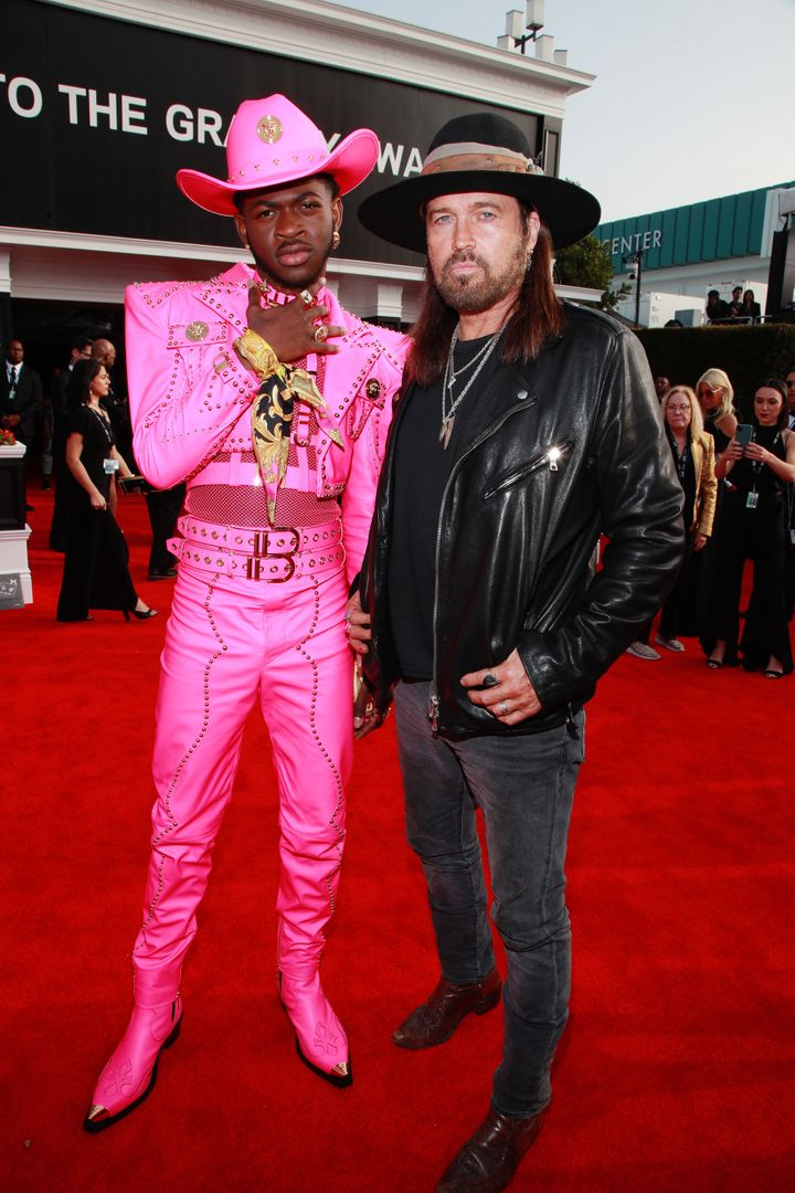 Lil Nas X and Billy Ray Cyrus at the 62nd Annual Grammy Awards red carpet on January 26.