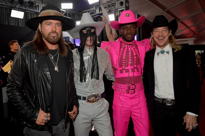 Billy Ray Cyrus, Canadian singer Orville Peck, Lil Nas X, and Diplo at Sunday's Grammy Awards.