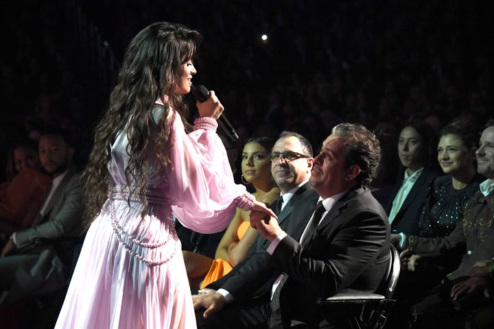 "Camila Cabello performing ""First Man"" at Sunday night's Grammy Awards."