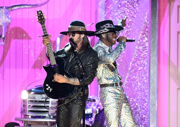 Billy Ray Cyrus and Lil Nas X perform onstage during the 62nd Annual Grammy Awards on Jan. 26, 2020,...