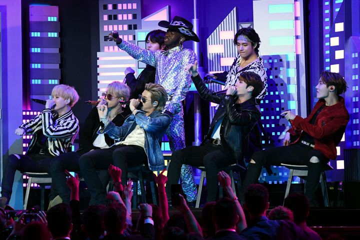 Lil Nas X and BTS perform onstage during the 62nd Annual Grammy Awards on January 26, 2020, in Los Angeles.