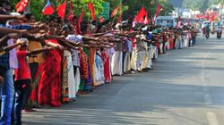 PHOTOS: Newlyweds, Young Children Take Part In Kerala's Human Chain Against