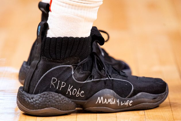 DENVER, CO - JANUARY 26: Austin Rivers #25 of the Houston Rockets commemorates the passing of Kobe Bryant...