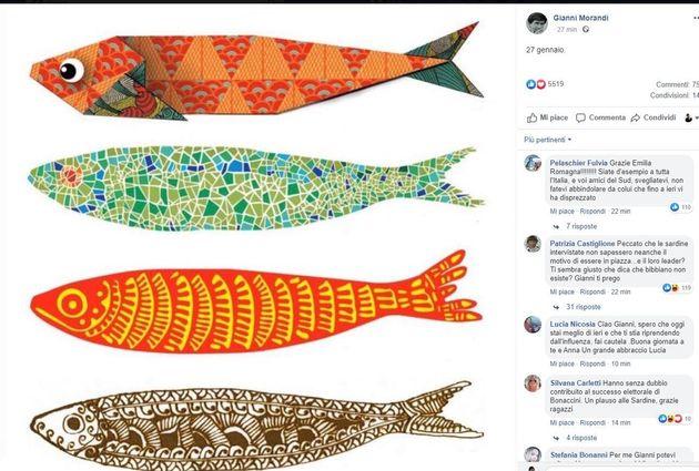 Gianni Morandi posta le sardine su