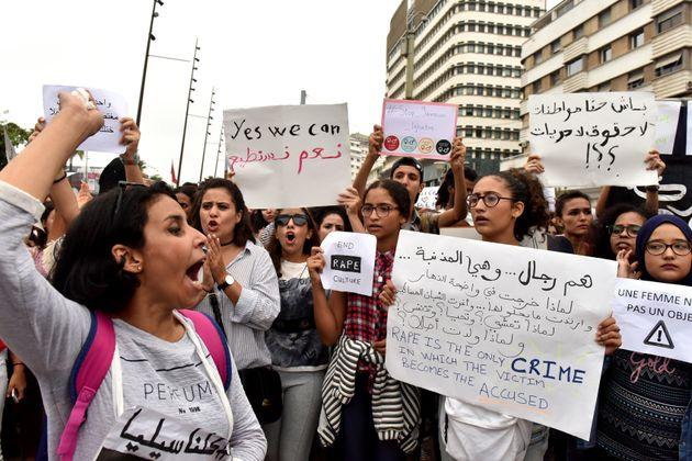 Protesta en Casablanca contra el acoso y la violencia sexual, en una imagen de archivo de