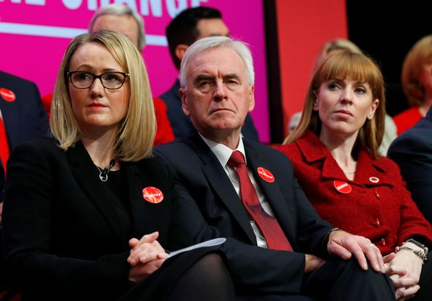 Labour Party's Shadow Business Secretary Rebecca Long-Bailey and Shadow Chancellor John McDonnell attend...