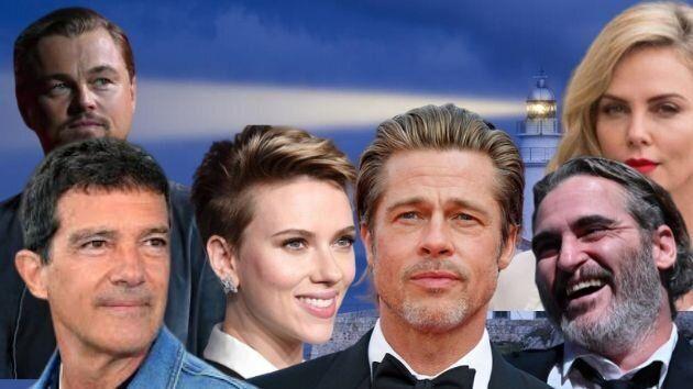 De izquierda a derecha: Leonardo DiCaprio, Antonio Banderas, Scarlett Johansson, Brad Pitt, Joaquin Phoenix y Charlize Theron.