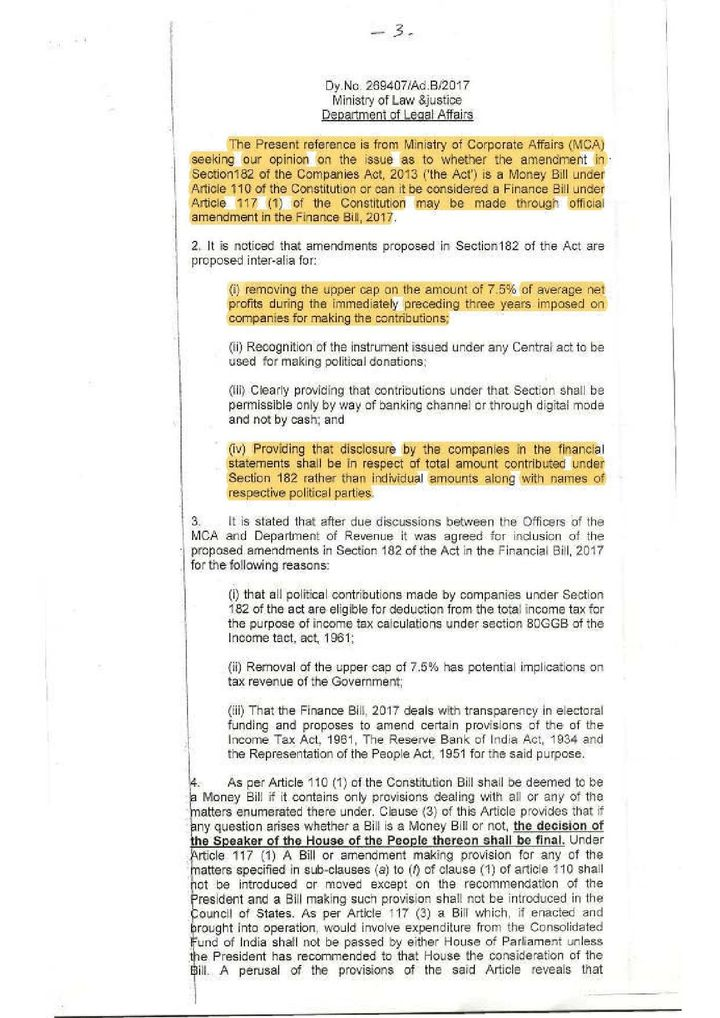 The law ministry's two-page note dated 17 March, 2017, where it said that while 'in strict sense', the proposed amendments to Section 182 of the Companies Act wouldn't come under a money bill, the government could still go ahead.