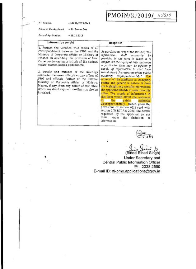The PMO's reply to transparency activist Saurav