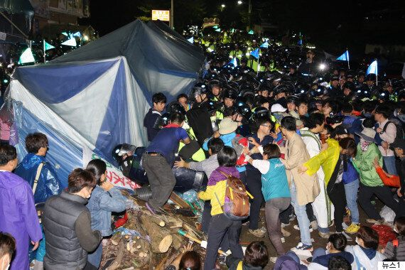 경북 성주 '사드 배치' 반대 400명