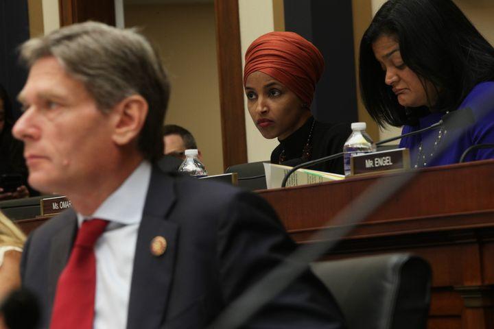 U.S. Rep. Ilhan Omar (D-Minn.) listens during a joint hearing before House Judiciary Committee Immigration and Citizenship Su