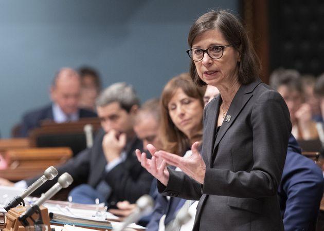 Quebec Health Minister Danielle McCann responds during question period at the legislature in Quebec City...