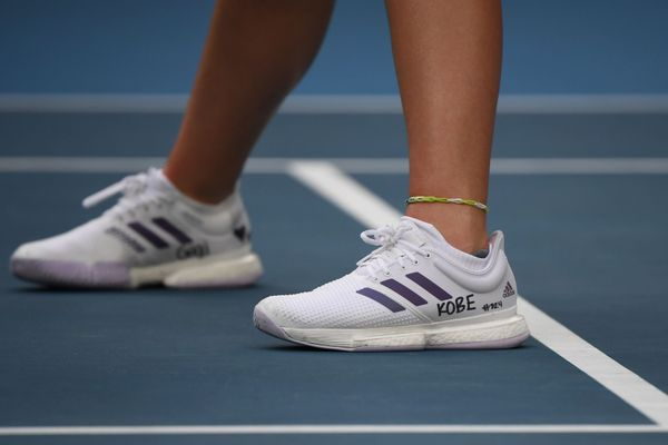 Catherine McNally's sneakers dedicated to Kobe Bryant at the Australian Open on Jan. 27.