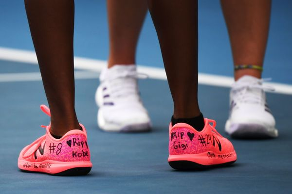 Coco Gauff's sneakers dedicated to Kobe Bryant and his daughter Gigi during the Australian Open on Jan. 27.
