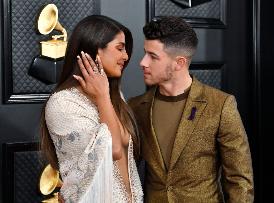 Priyanka Chopra with a 24 written on her nails in honor of Kobe Bryant at the Grammy Awards in Los Angeles on Jan. 26.