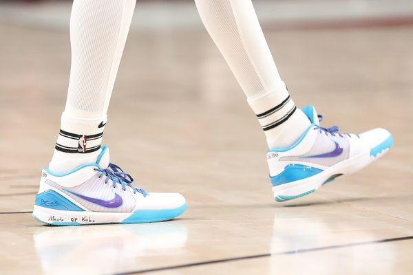 Anfernee Simons of the Portland Trail Blazers wearing sneakers dedicated to Kobe Bryant during a game against the Indiana Pac