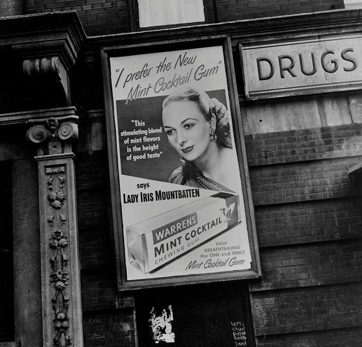 Lady Iris Mountbatten posed for this Warrens chewing gum advertisement, pictured in Toronto on July 23, 1947.