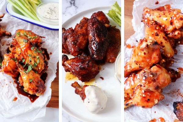 Left to right: Korean, Indian dry rub and Thai wings.