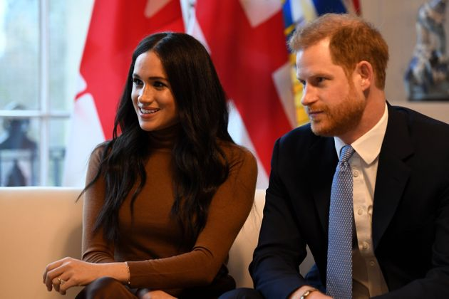 Meghan Markle, left, and Prince Harry stepped back from their roles as senior royals and announced moving...