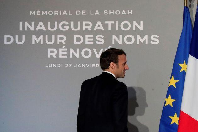 Emmanuel Macron au mémorial de la Shoah à Paris lundi 27
