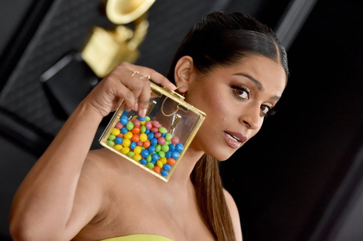 Lilly Singh's accessory was literally a clutch full of Skittles.
