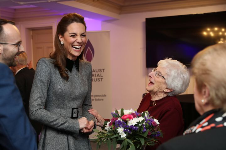 The Duchess of Cambridge pictured with Holocaust survivor Yvonne Bernstein after the U.K. Holocaust Memorial Day Commemorativ
