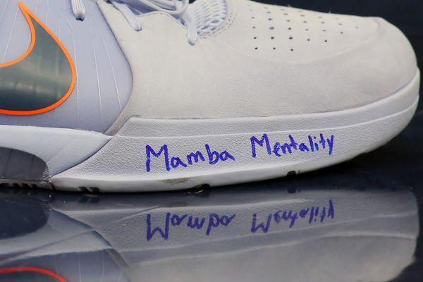 Jaxson Hayes of the New Orleans Pelicans wears sneakers dedicated to Kobe Bryant, who nicknamed himself the Black Mamba, duri