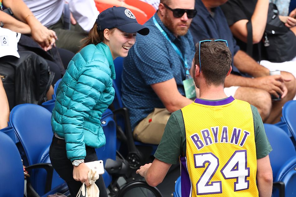 A spectator at the Australian Open seen wearing a Kobe Bryant jersey on Jan. 27.