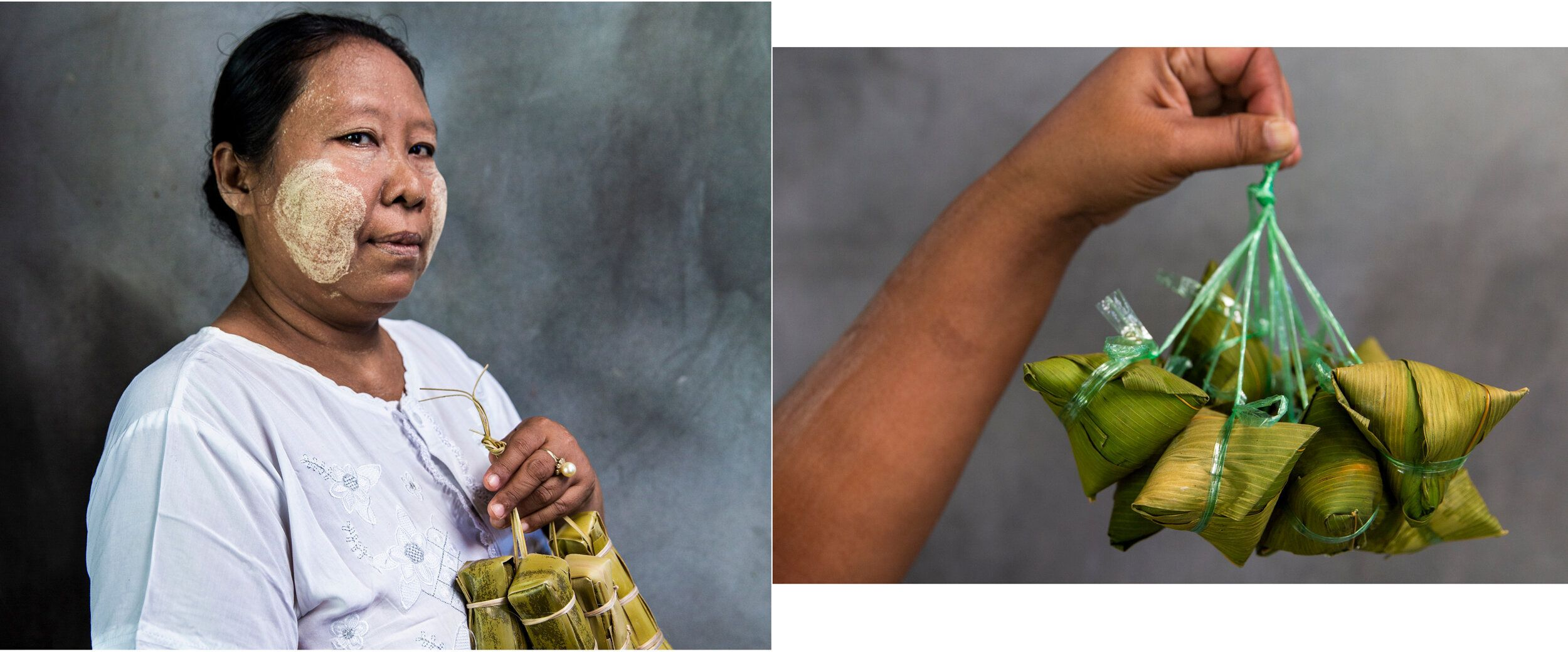 Swe Aung, 48, poses with her snack that's wrapped with leaves. On the right, a snack made with sticky rice packed with wrappe