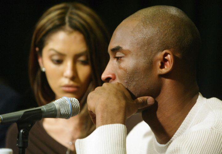 Kobe Bryant and his wife Vanessa hold a news conference on July 18, 2003, after he was accused of the rape of a 19-year-old woman in Colorado.