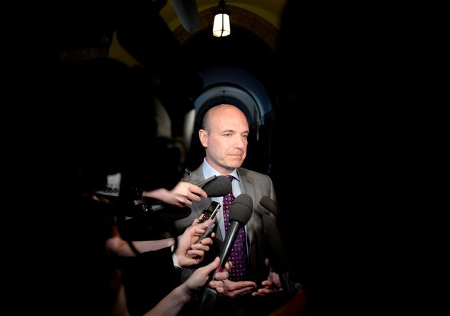 Former NDP MP Nathan Cullen speaks to reporters on Parliament Hill in Ottawa on on May 8,
