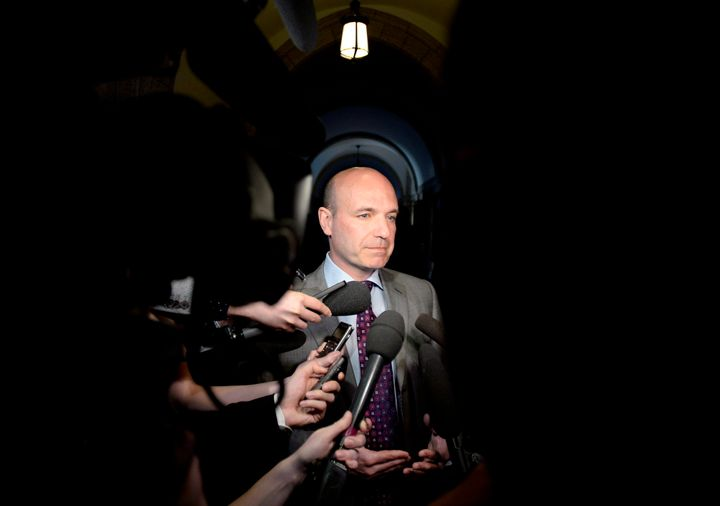 Former NDP MP Nathan Cullen speaks to reporters on Parliament Hill in Ottawa on on May 8, 2018.