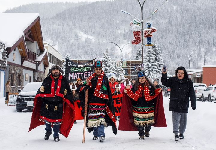 Wet'suwet'en Hereditary Chiefs from left, Rob Alfred, John Ridsdale, centre and Antoinette Austin, who oppose the Costal Gaslink pipeline take part in a rally in Smithers B.C., on  Jan. 10, 2020.