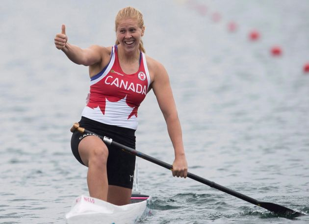 Laurence Vincent Lapointe celebrates winning the gold medal at the 2015 Pan Am Games in Welland, Ont....