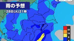 【1/28の天気】今夜から明朝にかけ、関東で非常に激しい雨。25m/s前後の突風のおそれも