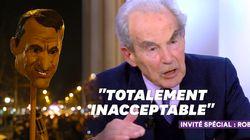 Robert Badinter très en colère face aux images de la tête d'Emmanuel Macron sur une
