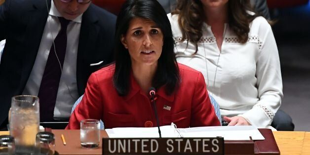 US Ambassador to the United Nations Nikki Haley speaks during a Security Council meeting on North Korea...