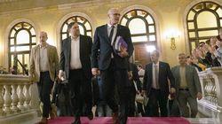 Los exconsellers presos comparecen ante la comisión del Parlament del