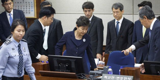 Former South Korean President Park Geun-hye arrives for her trial at the Seoul Central District Court...
