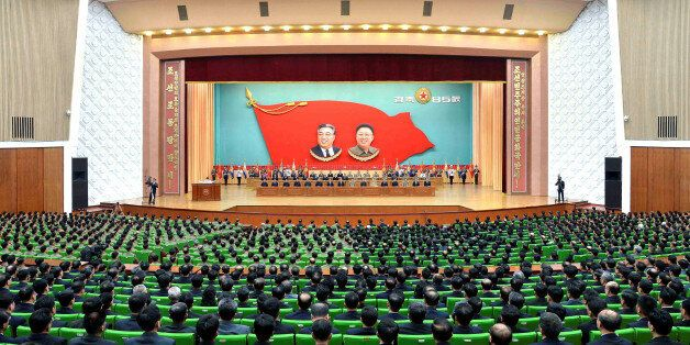 An overview of a national meeting at the People's Palace of Culture in Pyongyang on April 24, 2017 in...