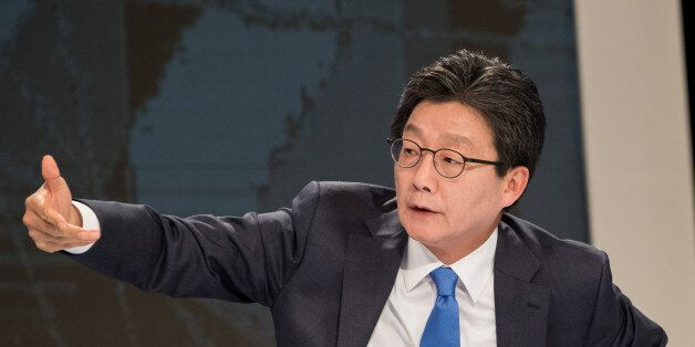Yoo Seung-min, presidential candidate of the Bareun Party, gestures before a televised presidential debate...