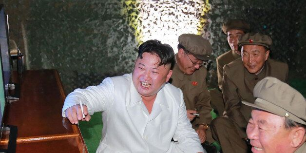 This undated picture released from North Korea's official Korean Central News Agency (KCNA) on August...