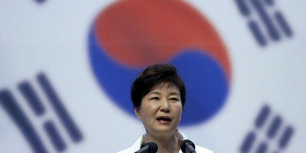 South Korean President Park Geun-hye speaks during a ceremony marking the 70th anniversary of the liberation...
