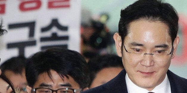 Lee Jae Yong, vice chairman of Samsung Electronics Co., speaks to reporters as he appears at the South...