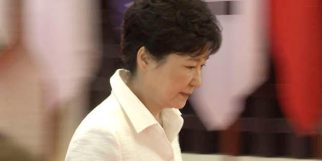 VIENTIANE, LAOS - 2016/09/08: Park Geun-hye, President of South Korea, arrives for a welcome dinner during...