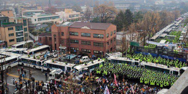 지난 11월 26일 청운동주민센터 앞에서 열린 집회 모습. 청와대에서는 200m 정도 떨어진