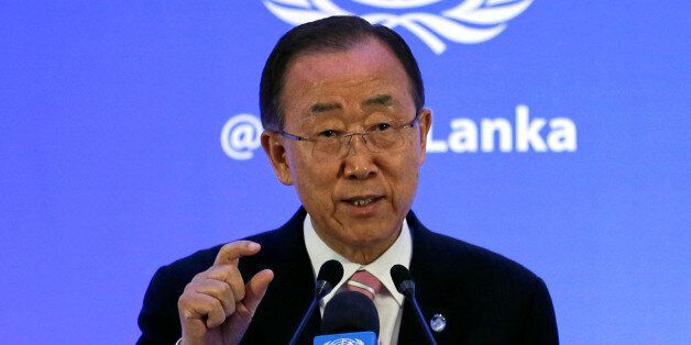 U.N. Secretary-General Ban Ki-moon speaks at a news conference during an official visit in Colombo, Sri...