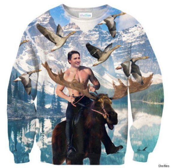캐나다 총리 트뤼도가 나체로 무스를 타고 달리는 스웨터가