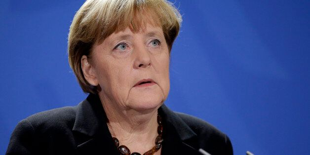 German Chancellor Angela Merkel speaks during a statement on the death of former German Chancellor Helmut...