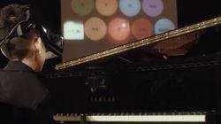 장애인 소년, 눈빛으로 피아노를